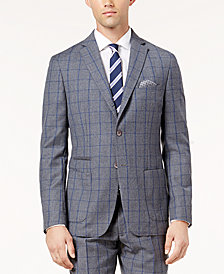 Tallia Men's Slim-Fit Gray and Blue Windowpane Wool Jacket