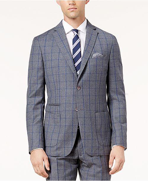 ... Tallia Men s Slim-Fit Gray and Blue Windowpane Wool Jacket ... 946122811
