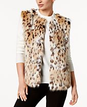 I.N.C. Leopard-Print Faux Fur Vest, Created for Macy's