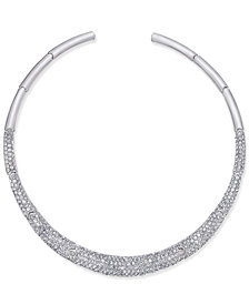 Joan Boyce Silver-Tone Pavé Collar Necklace