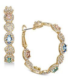Joan Boyce Gold-Tone Multi-Stone Scalloped Hoop Earrings