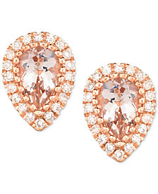 Morganite (3/4 ct. t.w.) & Diamond (1/8 ct. t.w.) Pear Stud Earrings in 14k Rose Gold