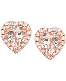 Morganite (3/4 ct. t.w.) & Diamond (1/8 ct. t.w.) Heart Stud Earrings in 14k Rose Gold