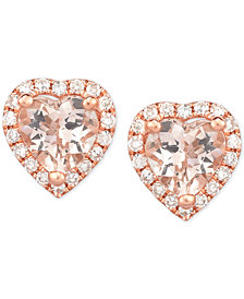 Morganite (3/4 ct. t.w.) & Diamond (1/8 ct. t.w.) Heart Stud Earrings in 14k Rose Gold