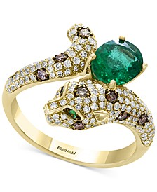 Signature by EFFY® Multi-Gemstone (1-1/6 ct. t.w.) & Diamond (5/8 ct. t.w.) Leopard Ring in 14k Gold