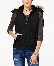 American Rag Juniors' Hooded Puffer Vest, Created for Macy's