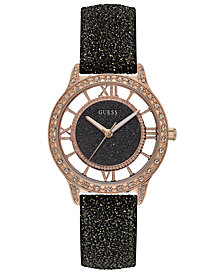 GUESS Women's Black Glitter Leather Strap Watch 38mm