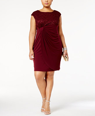 Connected Plus Size Sequin Lace Faux Wrap Dress Dresses