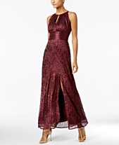 8c3307587ec R   M Richards Metallic Knit Keyhole Halter Gown