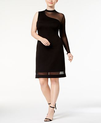 Love Squared Trendy Plus Size Asymmetrical Illusion Dress