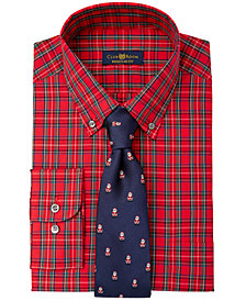 Club Room Men's Stewart Tartan Dress Shirt & Santa Tie, Created for Macy's