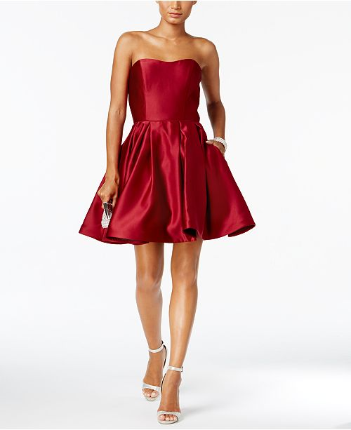 Betsy & Adam Strapless Fit & Flare Dress