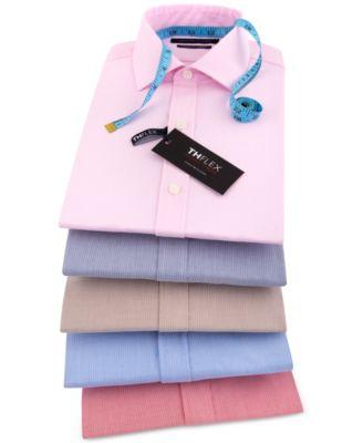 Men's Athletic Fit Performance Stretch TH Flex Collar Fineline Stripe Dress Shirt