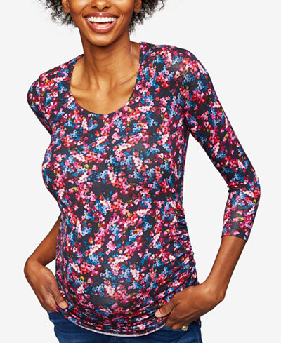 A Pea In The Pod Maternity Printed Ruched Top