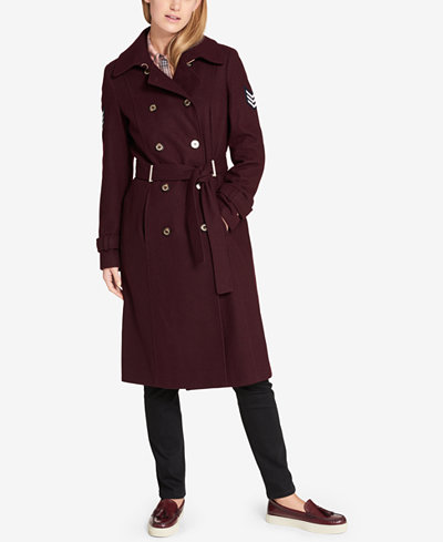 Tommy Hilfiger Military Wool-Blend Belted Trench Coat - Women - Macy's