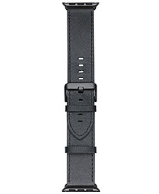 VogueStrap Smart Buddie Platinum Black Saffiano Leather Strap for 38mm Apple Watch®