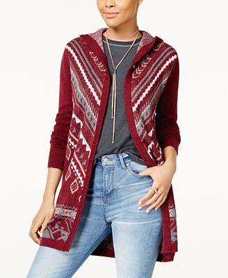 Hippe Rose Juniors' Long Hooded Cardigan Sweater - Juniors ...