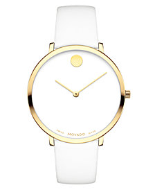 Movado Women's Swiss Museum Dial 70th Anniversary Special Edition White Calfskin Leather Strap Watch 35mm