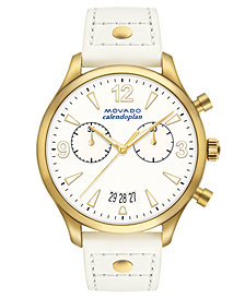 Movado Women's Swiss Heritage Series Calendoplan White Leather Strap Watch 38mm