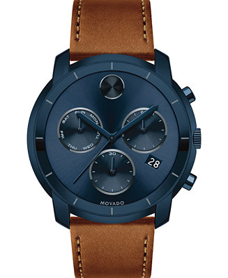 Movado Men's Swiss Chronograph BOLD Cognac Leather Strap Watch 44mm