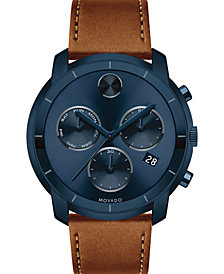 Movado Men's Swiss Chronograph BOLD Cognac Leather Strap Watch 44mm