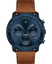 543be9871 Movado Men's Swiss Chronograph BOLD Cognac Leather Strap Watch 44mm