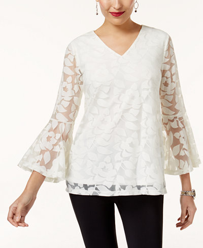 Alfani Burnout Bell-Sleeve Top, Created for Macy's
