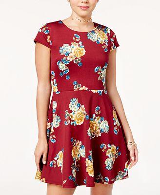 B Darlin Juniors' Printed Lace-Up Fit & Flare Dress