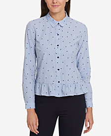 Tommy Hilfiger Cotton Ruffled Shirt, Created for Macy's