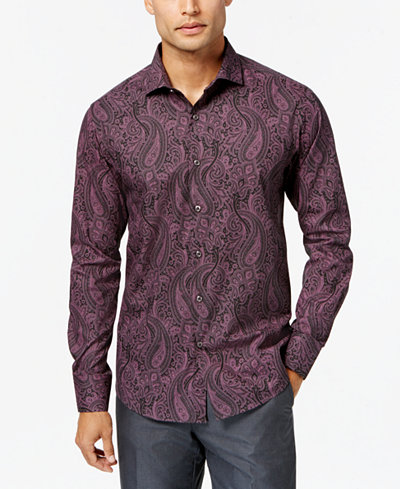 Tallia Men's Slim-Fit Paisley-Print Dress Shirt - Dress Shirts ...