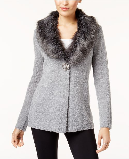 JM Collection Faux Fur Collar Brooch Cardigan, Created for