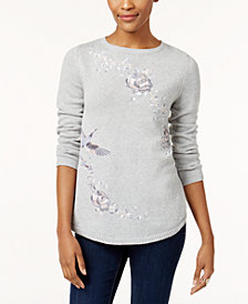 Style & Co Petite Cotton Embroidered Sweater, Created for Macy's