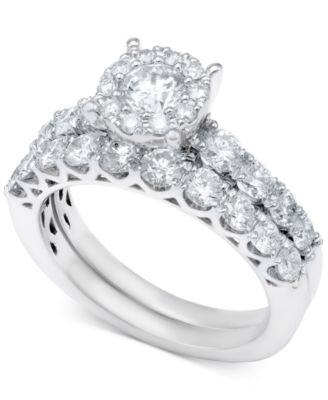 Diamond Bridal Ring Set in 14k White Gold or Gold 2 ct tw
