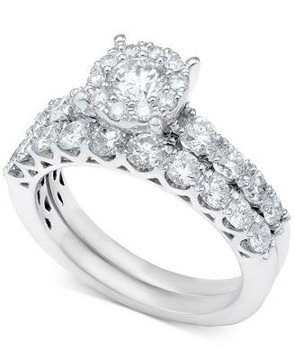Macy S Diamond Bridal Ring Set In 14k White Gold Or Gold 2 Ct T W