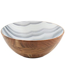 CLOSEOUT! Wood & Enamel Large Bowl