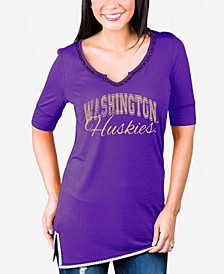 Women's Washington Huskies Beaded Neckline T-Shirt
