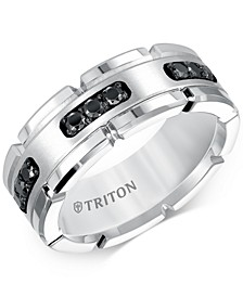 Men's Diamond Comfort Fit Band (1/3 ct. t.w.) in White Tungsten Carbide & Sterling Silver