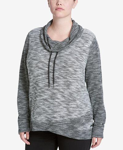 Calvin Klein Performance Plus Size Cotton Space-Dyed Cowl-Neck Sweatshirt