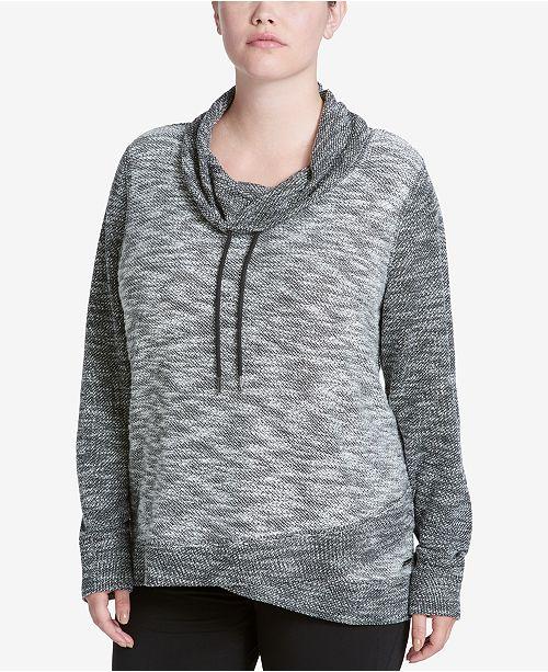 Calvin Klein Plus Size Cotton Space-Dyed Cowl-Neck Sweatshirt