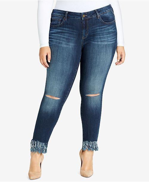 7d32b969598 ... WILLIAM RAST Trendy Plus Size Ripped Fringe Skinny Jeans ...