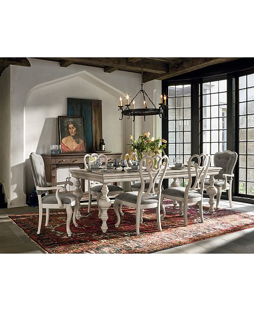 Rochelle Expandable Dining Furniture 7 Pc Set Table 4 Side Chairs 2 Arm Chairs