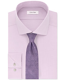 Calvin Klein Men's STEEL Performance Unsolid Dress Shirt & Layered Daisy Tie
