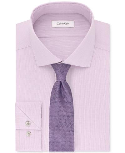 Calvin Klein Men's STEEL Performance Unsolid Dress Shirt & Layered Daisy Tie