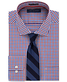 Tommy Hilfiger Men's Classic-Fit Non-Iron Red and Blue Gingham Dress Shirt & Twill Bar Stripe