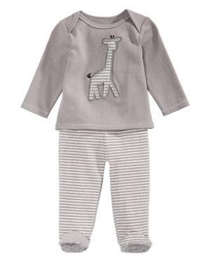 First Impressions 2Pc Cotton Giraffe TShirt  Footed Pants Set Baby Boys (024 months) Created for Macys