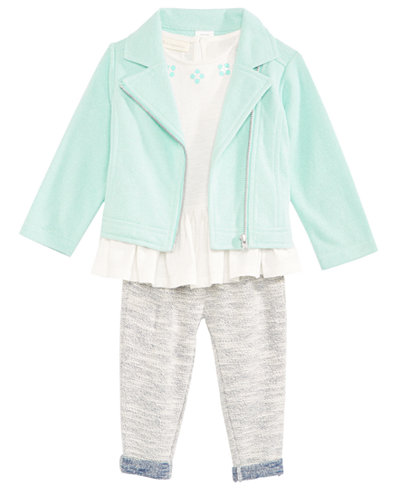 First Impressions 3-Pc. Moto Jacket, Top & Pants Set, Baby Girls, Created for Macy's