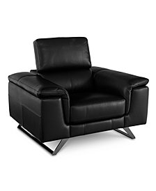 "Trivoly 47"" Leather Chair with Articulating Headrest, Created for Macy's"