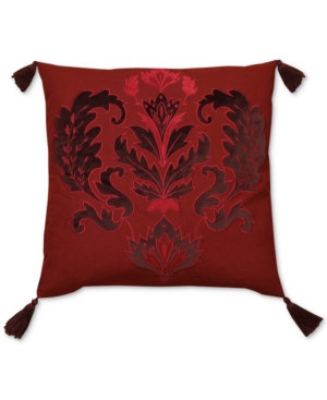 Hallmart Collectibles Jewel Tone Red Embroidered Applique 20 Square Decorative Pillow Bedding