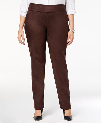 Charter Club Plus Size Cambridge Tummy-Control Faux-Suede Pants, Created for Macy's