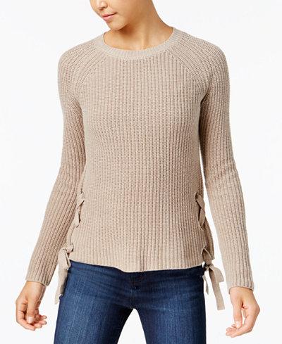 BCX Juniors' Lace-Up Sweater